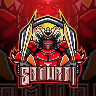 Design do logotipo do mascote samurai warrior