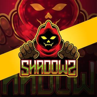 Design do logotipo do mascote shadow esport