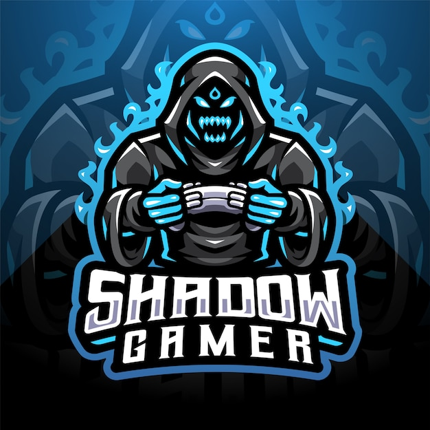 Design do logotipo do mascote shadow gamer esport