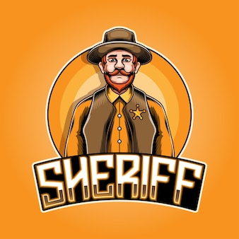 Design do logotipo do mascote sheriff esport