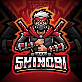 Design do logotipo do mascote shinobi esport