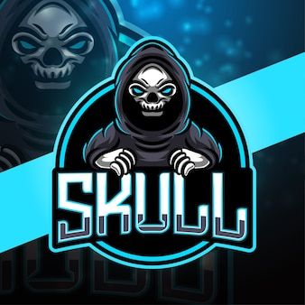 Design do logotipo do mascote skull esport