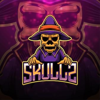 Design do logotipo do mascote skull esport
