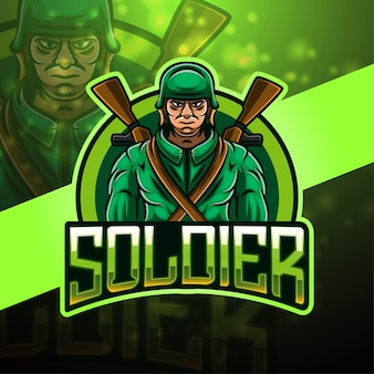 Design do logotipo do mascote soldier esport