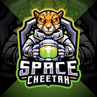 Design do logotipo do mascote space cheetah esport