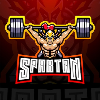 Design do logotipo do mascote spartan esport