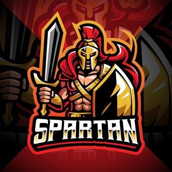 Design do logotipo do mascote spartan esport