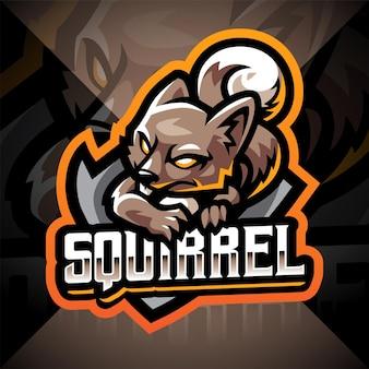 Design do logotipo do mascote squirrel esport