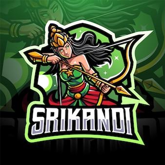 Design do logotipo do mascote srikandi esport