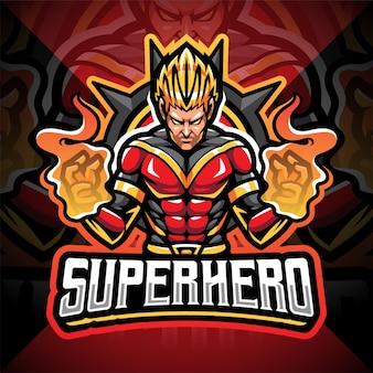 Design do logotipo do mascote super-heróis esport