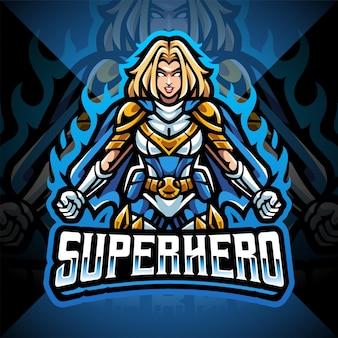Design do logotipo do mascote super-heróis meninas esport