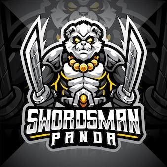 Design do logotipo do mascote swordsman panda esport