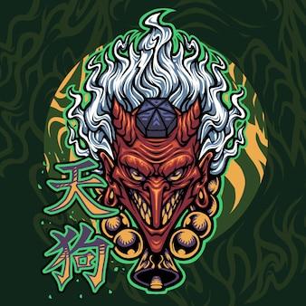 Design do logotipo do mascote tengu
