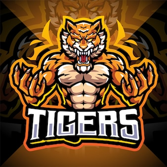 Design do logotipo do mascote tigers esport