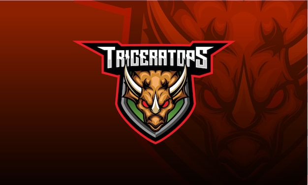 Design do logotipo do mascote triceratops esport