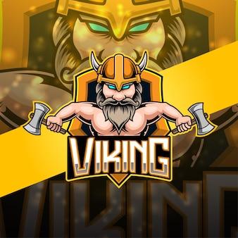 Design do logotipo do mascote viking esport