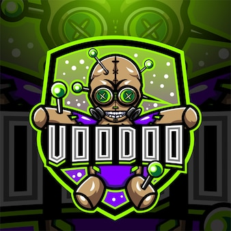 Design do logotipo do mascote voodoo esport