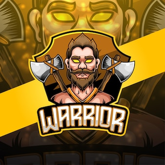 Design do logotipo do mascote warrior esport