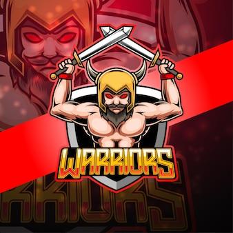 Design do logotipo do mascote warrior esport