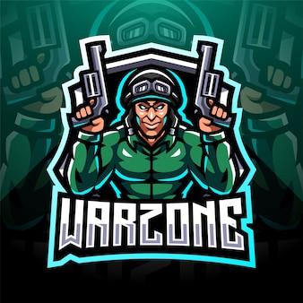 Design do logotipo do mascote warzone esport