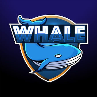 Design do logotipo do mascote whale esport