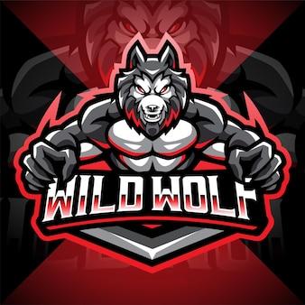 Design do logotipo do mascote wild wolf esport