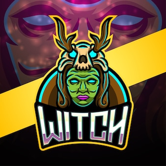 Design do logotipo do mascote witch esport