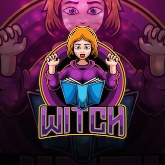 Design do logotipo do mascote witch esport