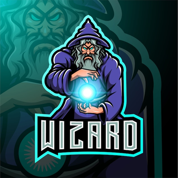 Design do logotipo do mascote wizard esport