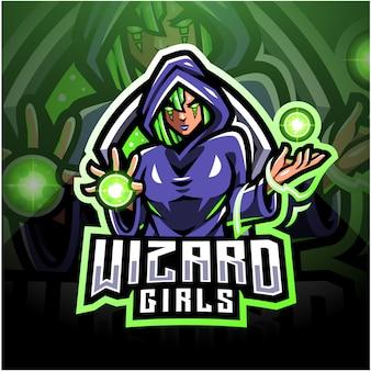 Design do logotipo do mascote wizard girls esport