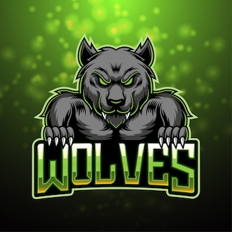 Design do logotipo do mascote wolves esport