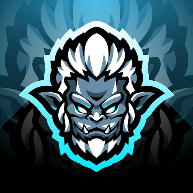 Design do logotipo do mascote yeti head esport