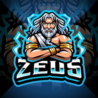 Design do logotipo do mascote zeus esport