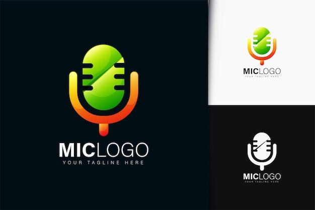 Design do logotipo do microfone com gradiente