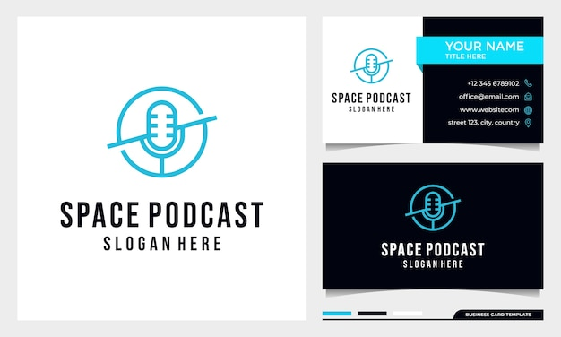 Design do logotipo do microfone do space podcast com modelo de cartão de visita