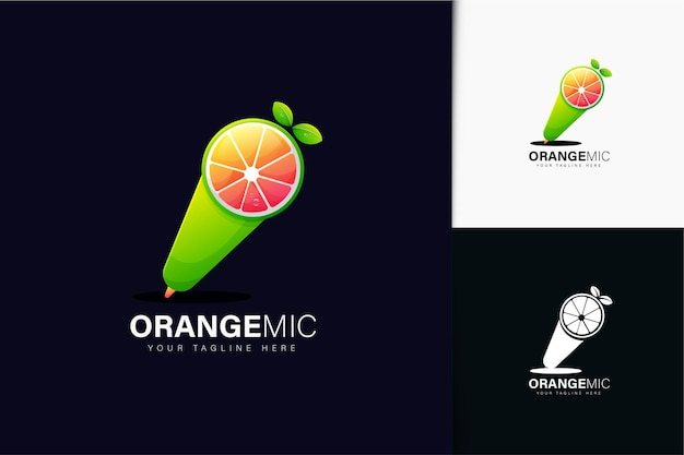 Design do logotipo do microfone laranja com gradiente