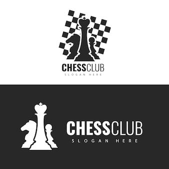 Design do logotipo do modelo do clube de xadrez.