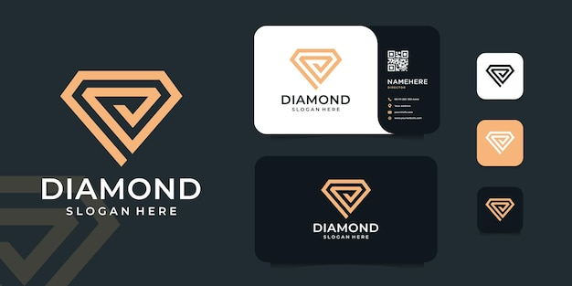 Design do logotipo do monograma diamante ouro