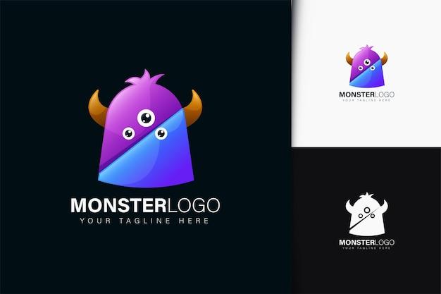 Design do logotipo do monstro com gradiente