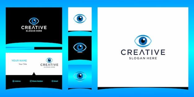 Design do logotipo do olho com modelo de cartão de visita