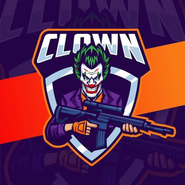 Design do logotipo do palhaço com arma mascote esport