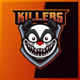 Design do logotipo do panda killers esport e do mascote do esporte