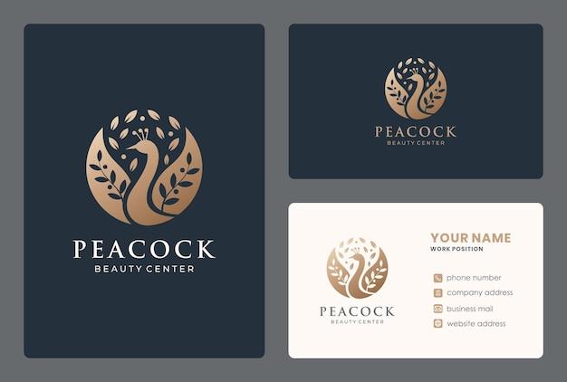 Design do logotipo do pavão com cartão de visita