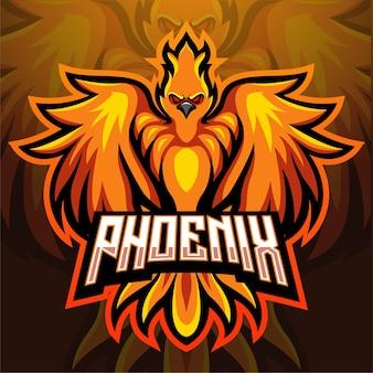 Design do logotipo do phoenix bird mascote esport