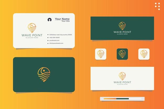 Design do logotipo do pino de localização da onda na cor amarela gradiente