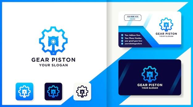 Design do logotipo do pistão da engrenagem e cartão de visita