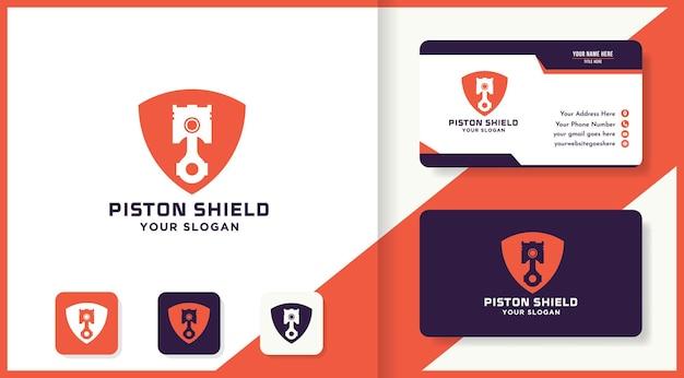 Design do logotipo do pistão escudo e cartão de visita