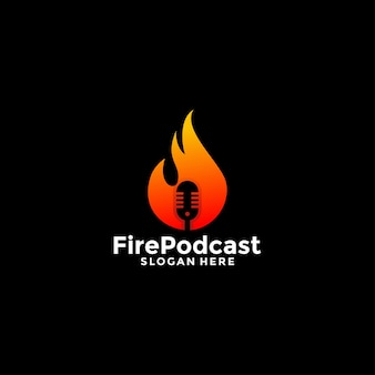 Design do logotipo do podcast chama conversa untitled-fire