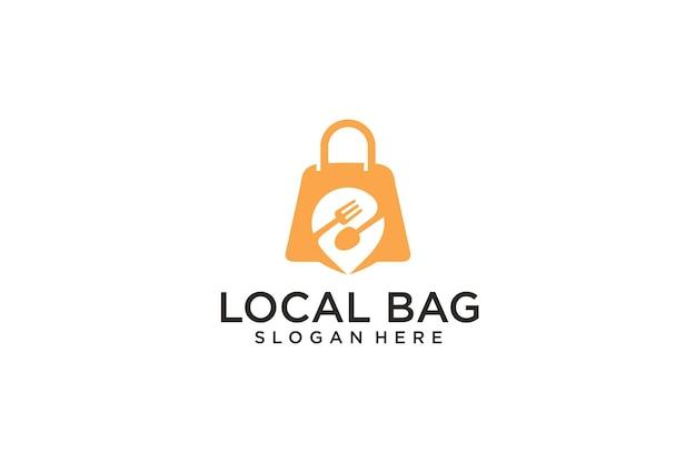Design do logotipo do ponto de localização da loja de sacolinhas de alimentos