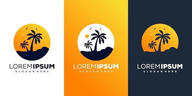 Design do logotipo do pôr do sol da praia e palm